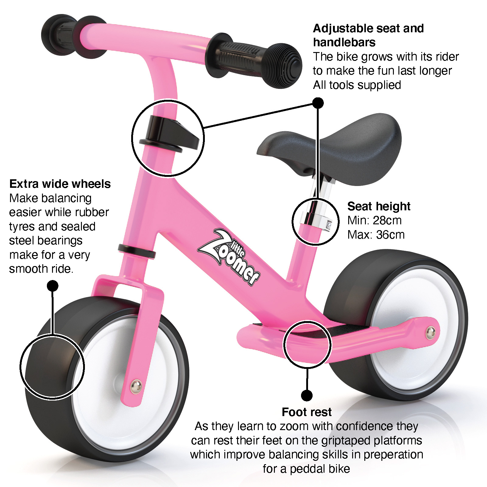BIKES WITH WIDE WHEELS PINK BALANCE BIKE FOR TODDLERS /& KIDS 2-4 YEARS